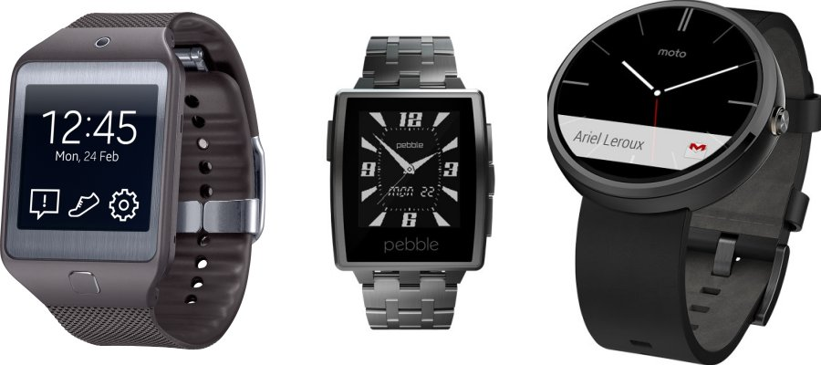 Moto360 Pebble Steel and Samsung Gear 2 comparison