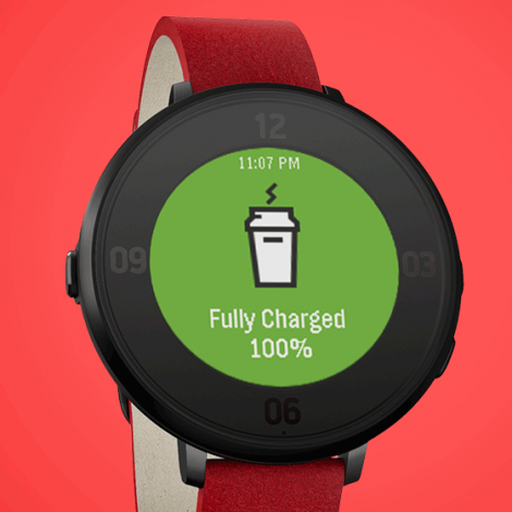 Pebble Time Round fully charged screen