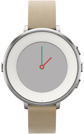 Pebble Time Round Silver and Beige 14mm strap
